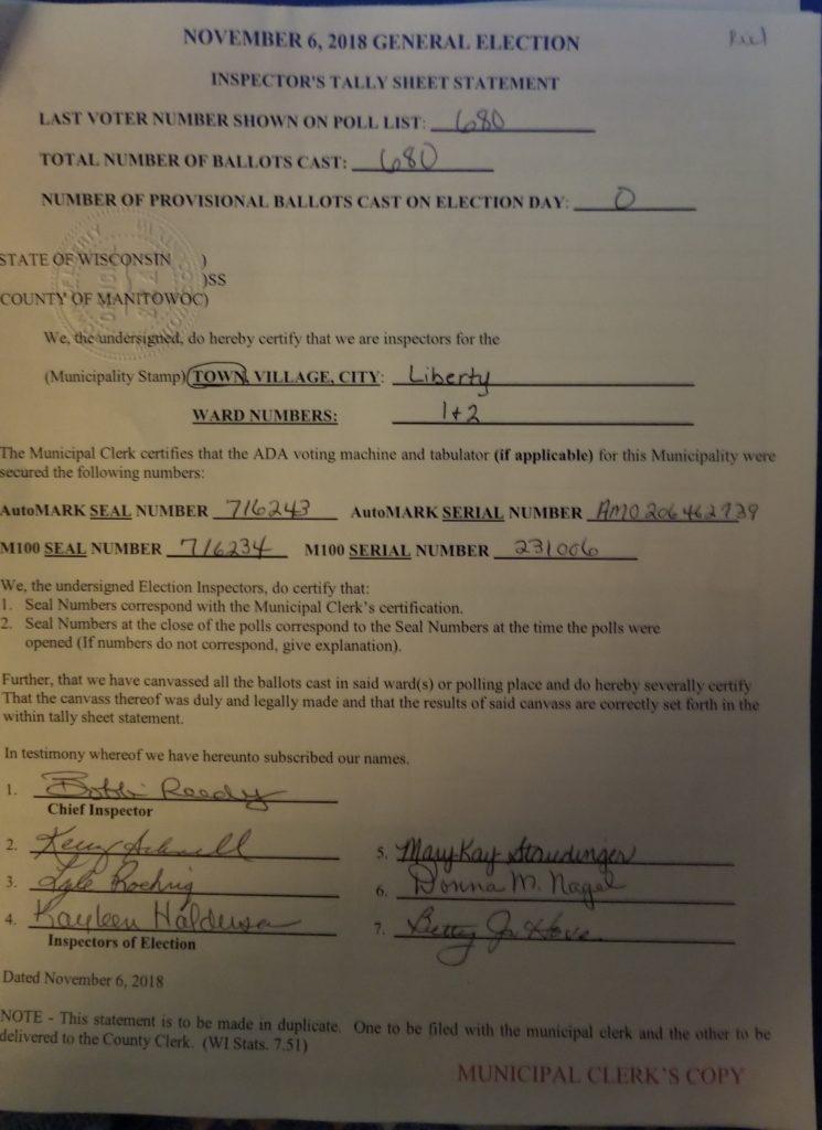 november 6 2018 general election inspector tally sheet statement